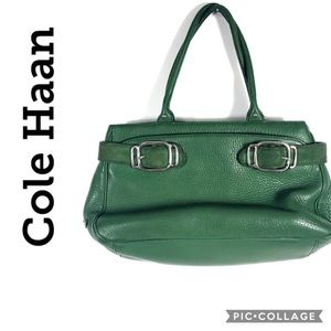 Cole Haan green leather buckle satchel purse